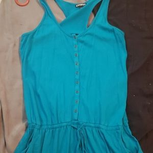 Buttoned teal romper